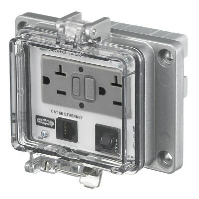 Hubbell PR205EB GFCI Receptacle w/Ethernet Access In-Cabinet