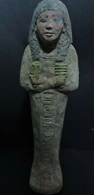 RARE ANCIENT EGYPTIAN ANTIQUES USHABTI (SHABTI) QUEEN STATUE LUXOR LimeSTONE BC