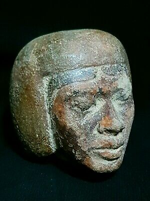 Rare ANCIENT EGYPTIAN ANTIQUES Head Of Nubian King LUXOR Sand Stone EGYPT BC