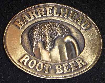 Vintage BARRELHEAD ROOT BEER Belt Buckle Solid Brass ©1976 ABCOR *NEW*