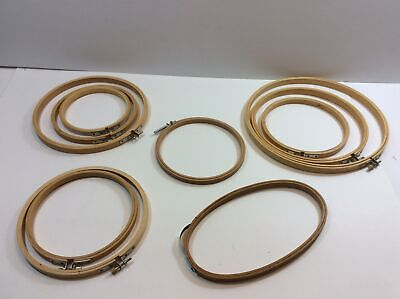 Wood Wooden Embroidery Hoops Lot of 10 Screw Tension Assorted Sizes