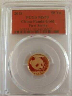 2018 50 Yuan China Gold Panda 3 Gram .999 Gold Coin PCGS MS70 First Strike