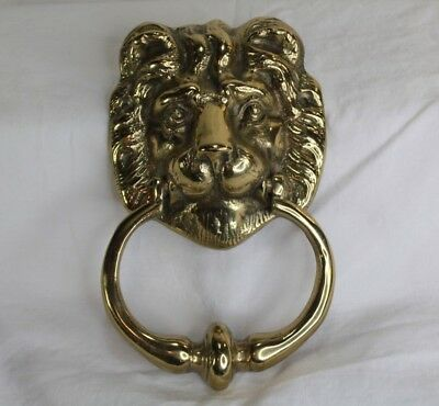 Vintage Brass Lion Head Ornamental Door Knocker