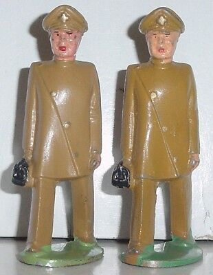 Old MANOIL 1930s Lead Dimestore Figures, Two Military Doctors In Khaki, M35
