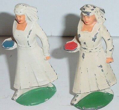 Old MANOIL 1930s Lead Dimestore Figures, Two Military Nurses With Bowls, M36