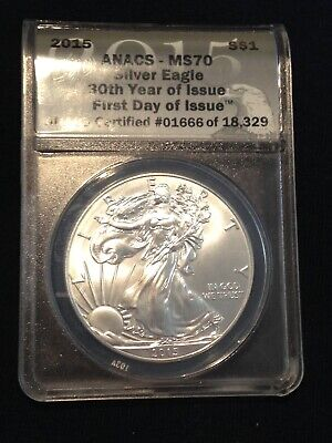 2015 American Silver Eagle Anacs Ms 70 First Day Issue Coin 1 Oz