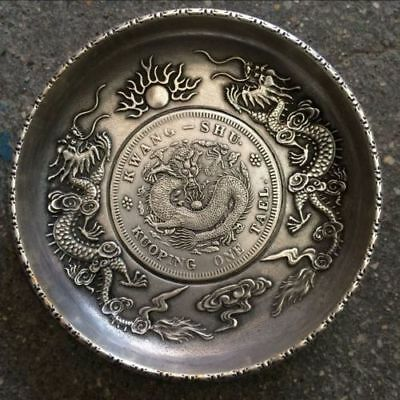 Antique Tasted Silver Gilding in Ancient China Dragon playing bead plate.