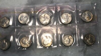 Lot of 10 Washington Silver Quarters 1964 Circulated 90% Silver Coins