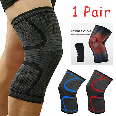 1 Pair Knee Sleeves Brace Support For Sports Joint Arthritis Pain Relief Running