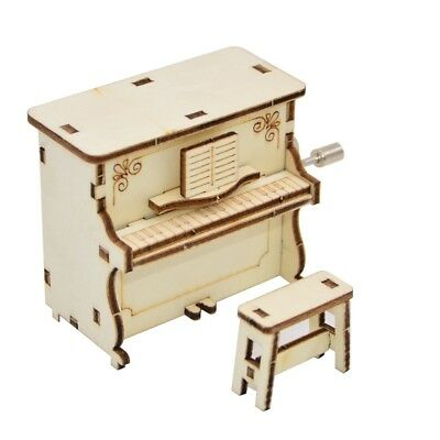 Wooden Carved Piano Music Box Musical Toy Hand Cranked Kids Gift Home Decor Hot