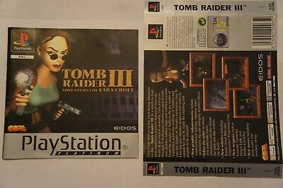 Tomb Raider III 3 Sony Playstation 1 back art cover and manual ONLY  Ps1 PAL