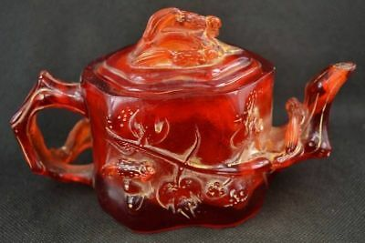 Rare Collectibles Old Decorated Handwork Amber Carving Insects Teapot NR89