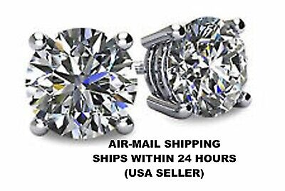 MENS 4 Carat CZ Stud Earrings Round 4ct large cubic zirconium White Gold Filled!