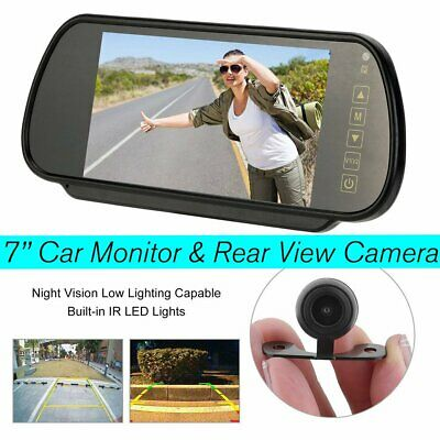 "7"" LCD Mirror Monitor+Wireless Car Rear View Backup Camera DVR Night Vision VIP"