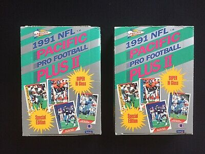 Lot of 2 FACTORY 1991 Pacific PLUS 2 Football Boxes-Brett Favre Rookie PACKERS