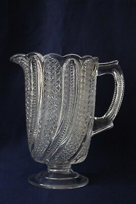 """Antique EAPG MCKEE Feather Pattern Clear Glass Water Pitcher 7.5"""" H"""