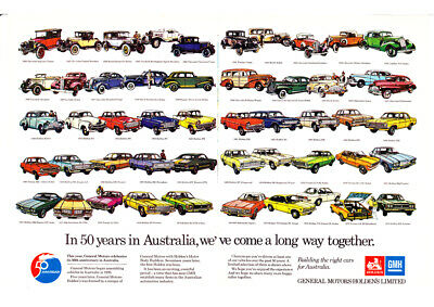 """1976 HOLDEN GMH 50TH ANNIVERSARY AD A2 CANVAS PRINT POSTER FRAMED 23.4""""x16.5"""""""