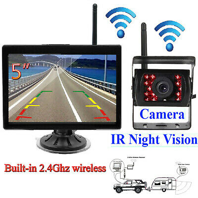 """5"""" Monitor +Wireless IR Rear View Backup Camera Night Vision System For RV Truck"""