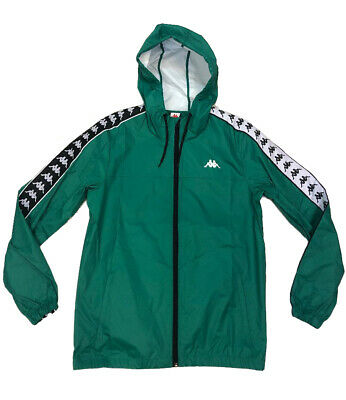 33b58e45ea Kappa 222 Banda Dawson Alternating Banda Green-Black-White Zip Up Jacket