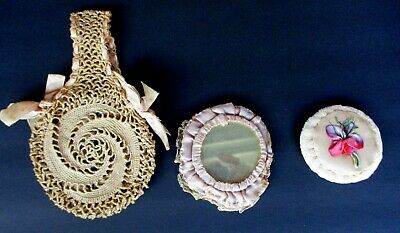 Small Antique Tatted Evening Handbag Purse With Mirror & Powder Puff
