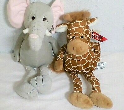 2 X RUSS Soft PlushToys Large ELEPHANT & GIRAFFE with Tags