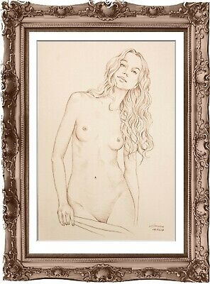 original drawing female nude 185MS erotik art pastel dessin denu féminin А3