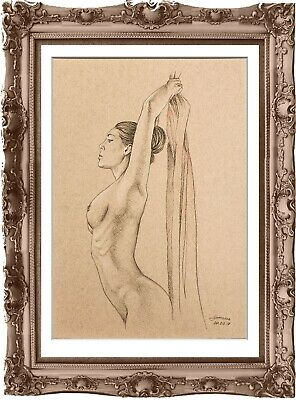 original drawing female nude 187MS erotik art pastel dessin denu féminin А3