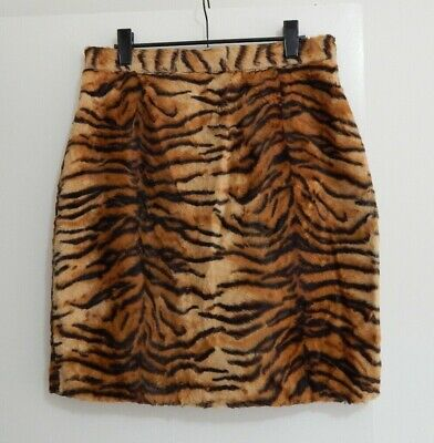Vintage ADELE PALMER Faux Fur TIGER Animal Print Short Skirt 12?10?