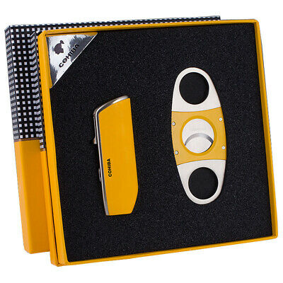 COHIBA Yellow Metal 3 Torch Jet Flame Lighter Windproof Cigar Lighter Set