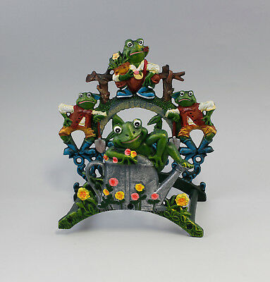 9977512 Cast Iron Figure Schlauch-Halter Frog Frogs Colourful Rustic