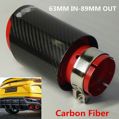 Real Carbon Fiber Sport Style Glossy Black+Red Car Exhaust Muffler Tip 63mm-89mm
