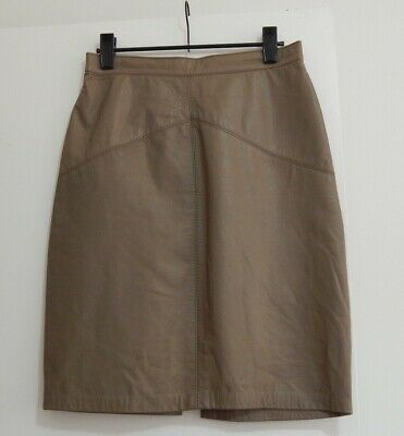 Vintage RAPALLO Taupe Genuine Leather SKIRT High Waist Short Fitted 8?10?