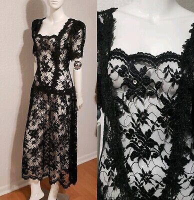 Vtg Great Gatsby Party Lace Dress Drop Waist Sheer Embellished Flapper Sz M