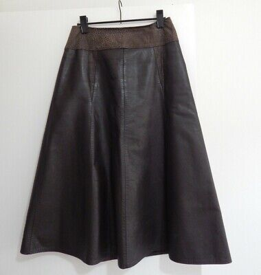 Vintage VOLECASTLE Brown Genuine Leather SKIRT Bristol ENGLAND 8?