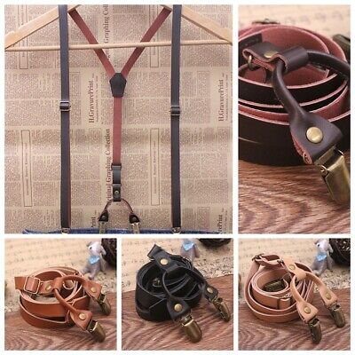 Mens Genuine Adjustable Leather Wedding Party Suspenders Y-Back Clip-On Braces