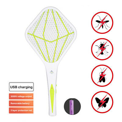 Electronic Bug Zapper Racket Mosquito Fly Swatter Insects Pest Electric Bat USB