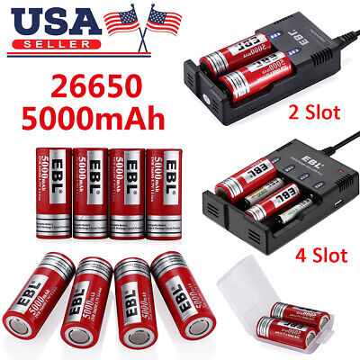 EBL 5000mAh 26650 Li-ion Rechargeable Battery / Charger for 16340 18650 AA AAA