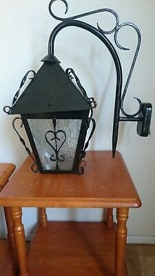 Very pretty unusual vintage French wrought iron wall  light with clear glass