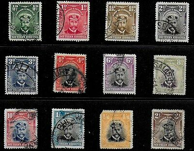 Southern Rhodesia 1924 KGV Definitives - SS to 2/- - Used - details below