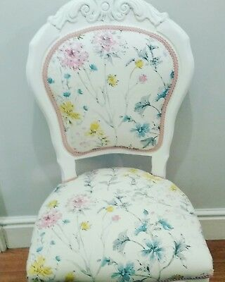 french style louis boudoir chair in Laura Ashley Wild Meadow + cushion cover