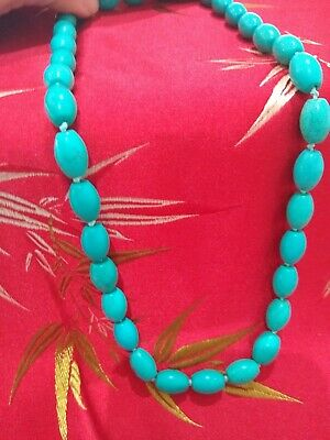 Chinese turquoise necklace genuine , with a silver lobster claw clasp