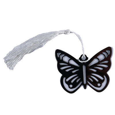Stainless Steel Hollow Butterfly Bookmarks Tassels Stationery Pendant Gift LH