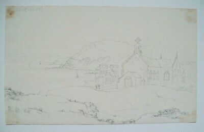 ABERYSTWYTH?  WALES - ATTRACTIVE ORIGINAL 19thC PENCIL DRAWING  - CIRCA 1830s