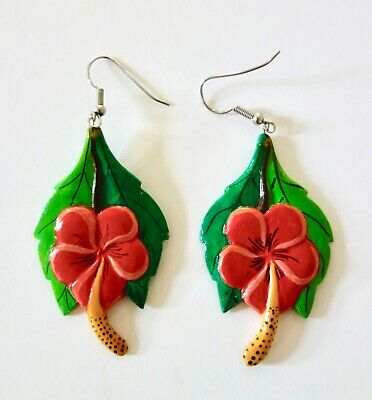 Vintage Retro Wooden Tropical Leaf and Red Hibiscus Flower Earrings