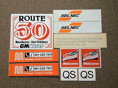 GM buses, SELNEC, GMPTE vinyl stickers, BUS STOP,  new old stock