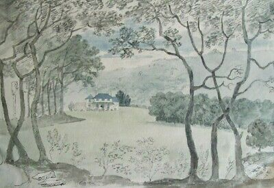 HOLNE PARK DEVON - ATTRACTIVE ORIGINAL EARLY 19th CENTURY INK & WASH DRAWING