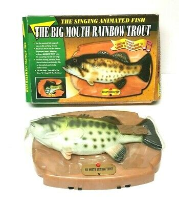 Novelty Big Mouth Rainbow Trout Singing Mounted Fish Toy Boxed