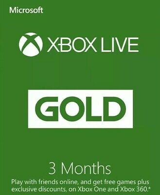 XBOX LIVE GOLD 3 Month Membership Microsoft XBOX One & 360 - Posted Only