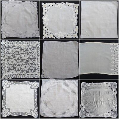 Vintage 1930's Lace & Embroidered Handkerchief Hanky - Wedding Bride Bridal (A)