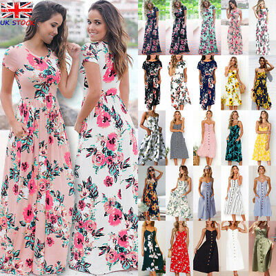 UK Womens Elastic Wasit Swing Maxi Ladies Loose Holiday Summer Midi Long Dress